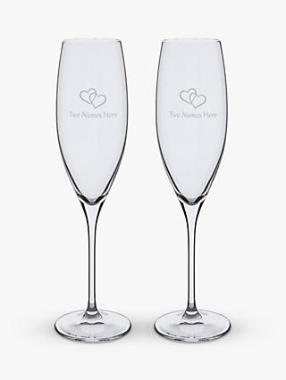Dartington Crystal Personalised Love Heart Flutes, Set of 2, 200ml, Gabriola Font, Clear