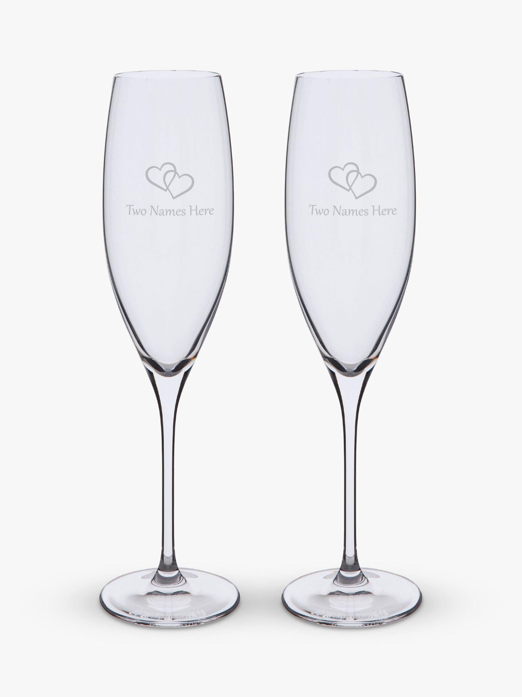 Dartington Crystal Dartington Crystal Personalised Love Heart Flutes, Set of 2, 200ml, Gabriola Font, Clear