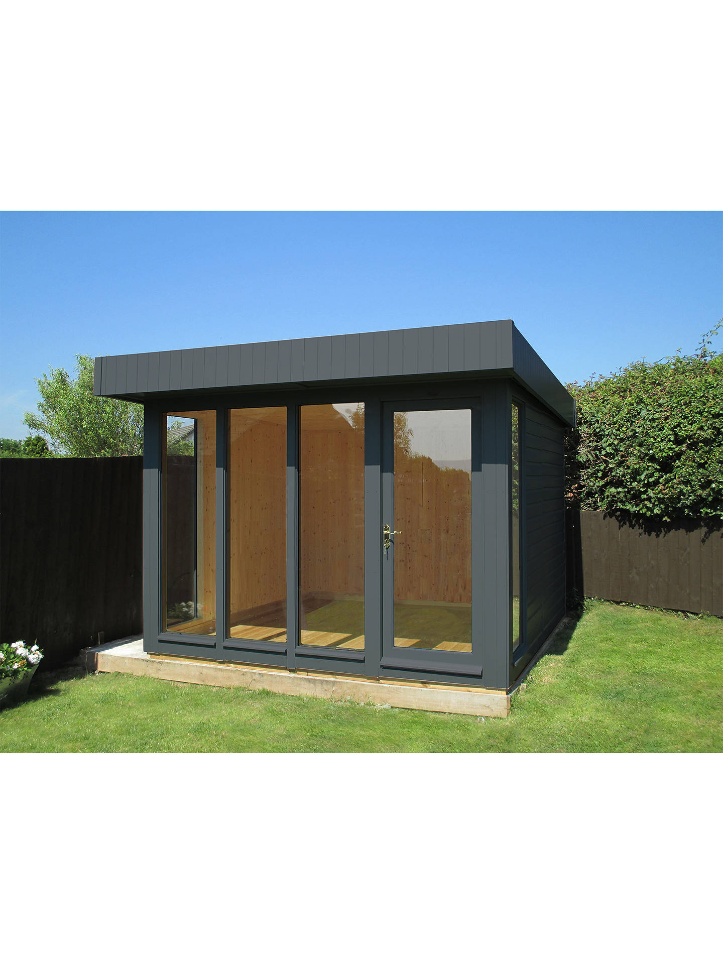 Buy Crane Garden Buildings 3 x 3m Garden Studio, FSC-Certified (Scandinavian Redwood), Shale Online at johnlewis.com