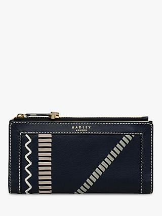 Radley Hill House Craft Stripe Leather Large Matinee Purse, Ink Blue
