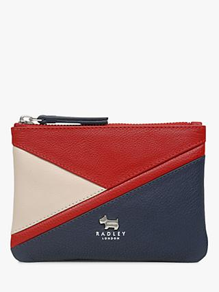 Radley Cedar Road Leather Small Colour Block Pouch, Ink Blue