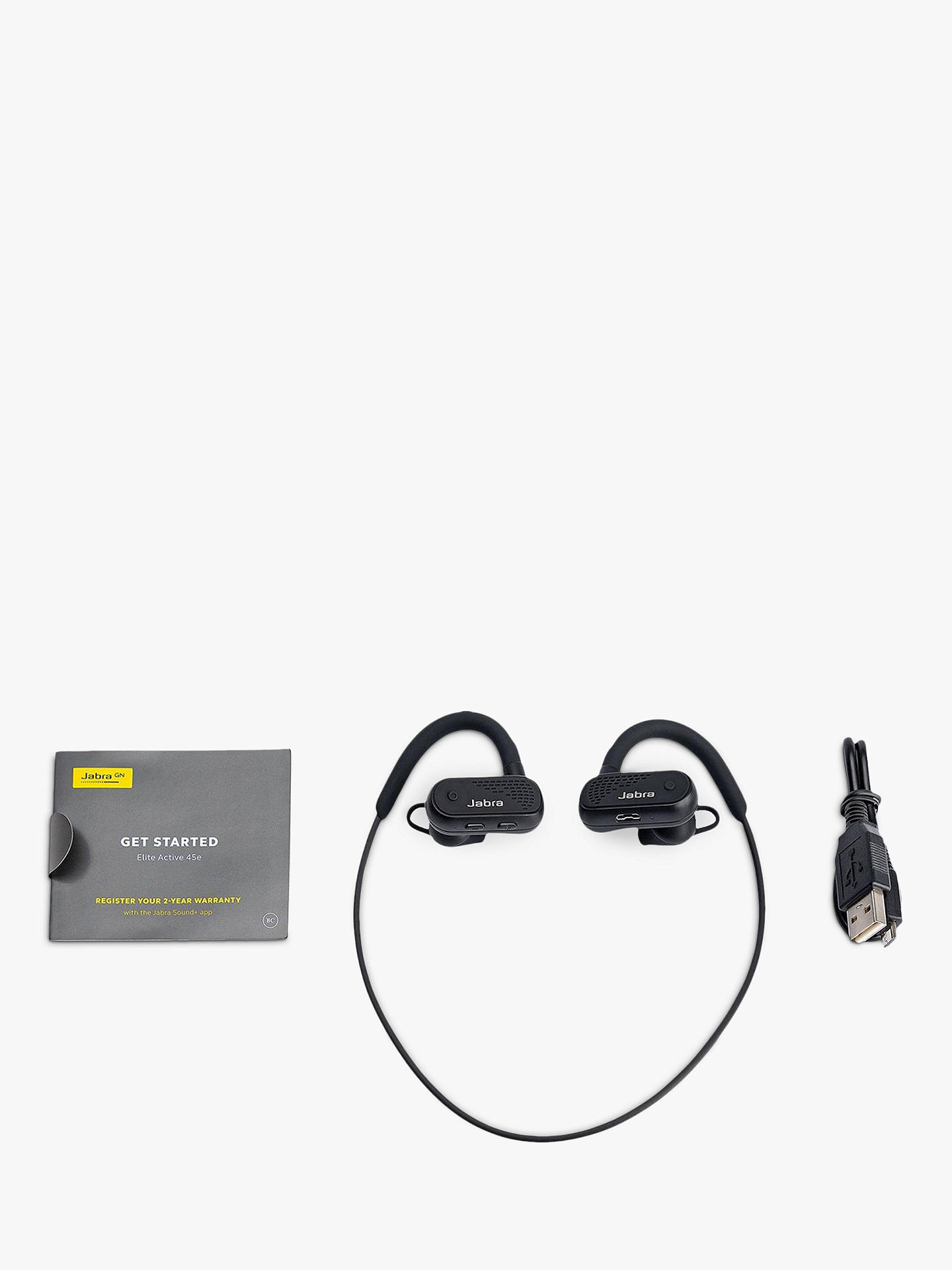 Jabra Elite 45e Active Wireless Waterproof Bluetooth In Ear Headphones With Mic Remote At John Lewis Partners