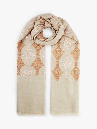 Modern Rarity Contrast Embroidery Wool and Silk Scarf, Sand/Multi