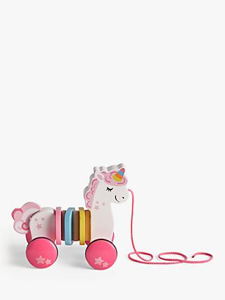 John Lewis & Partners Wooden Pull Along Unicorn