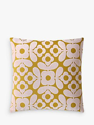Orla Kiely Flower Tile Velvet Cushion, Citrine / Pink