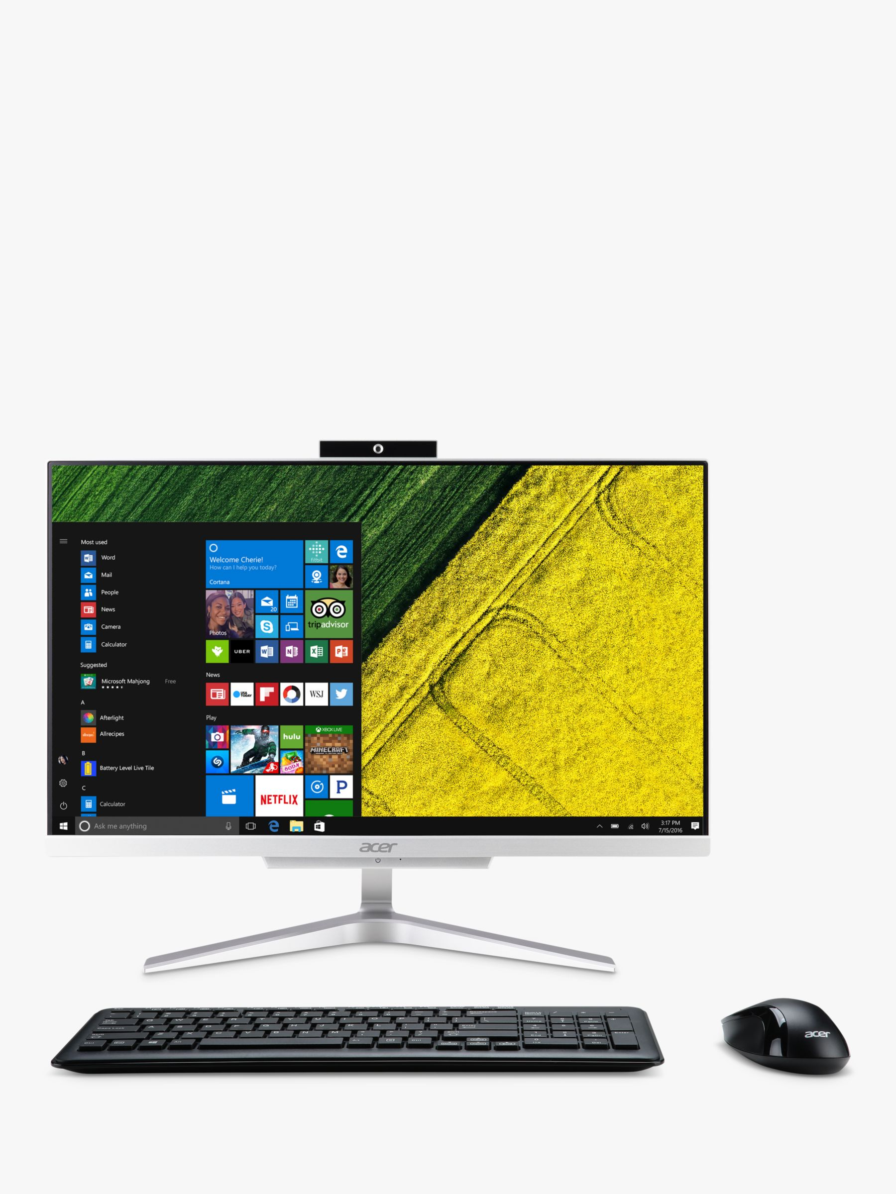 Acer Acer C22-320 All-in-One Desktop PC, AMD A9 Processor, 8GB RAM, 1TB HDD, 21.5 Full HD, Silver