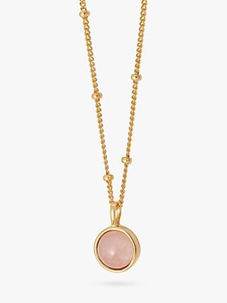 Daisy London Round Semi-Precious Healing Stone Bead Chain Pendant Necklace, Rose Quartz