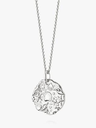 Daisy London Isla Fossil Round Pendant Necklace, Silver