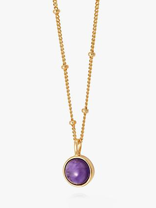Daisy London Round Semi-Precious Stone Bead Chain Pendant Necklace