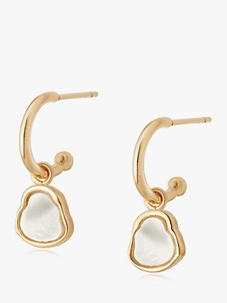Daisy London Isla Mother of Pearl Hoop Drop Earrings, Gold