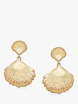 Daisy London Isla Double Shell Drop Earrings, Gold
