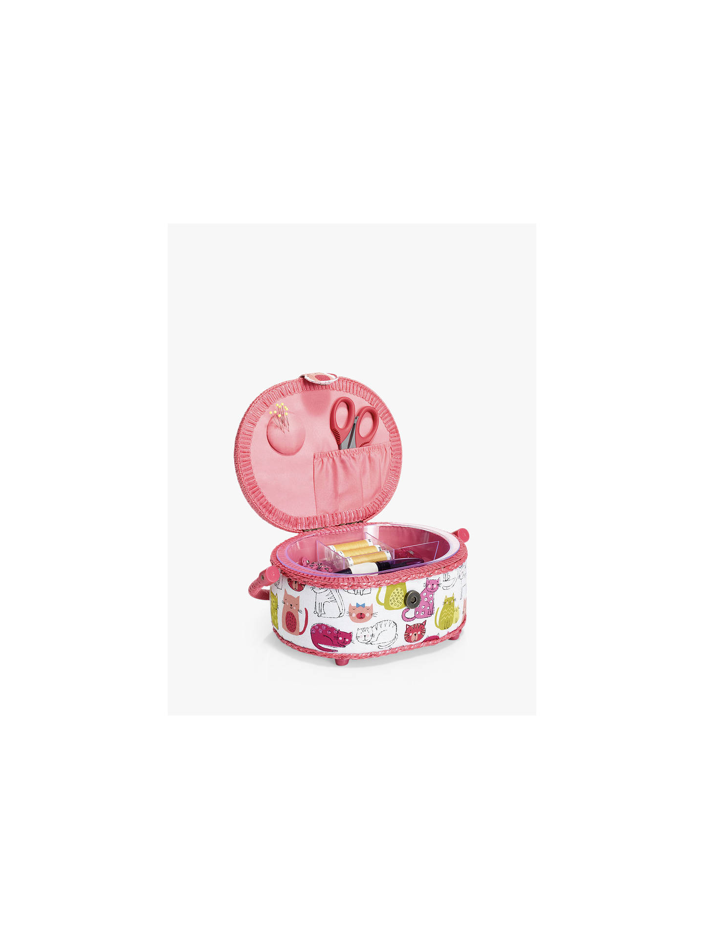 Buy Prym Kitty Print Sewing Basket, Pink/Multi Online at johnlewis.com
