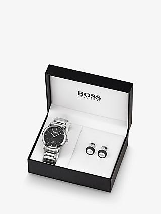 HUGO BOSS 1570091 Men's Round Cufflinks and Date Bracelet Strap Watch Gift Set, Silver/Black