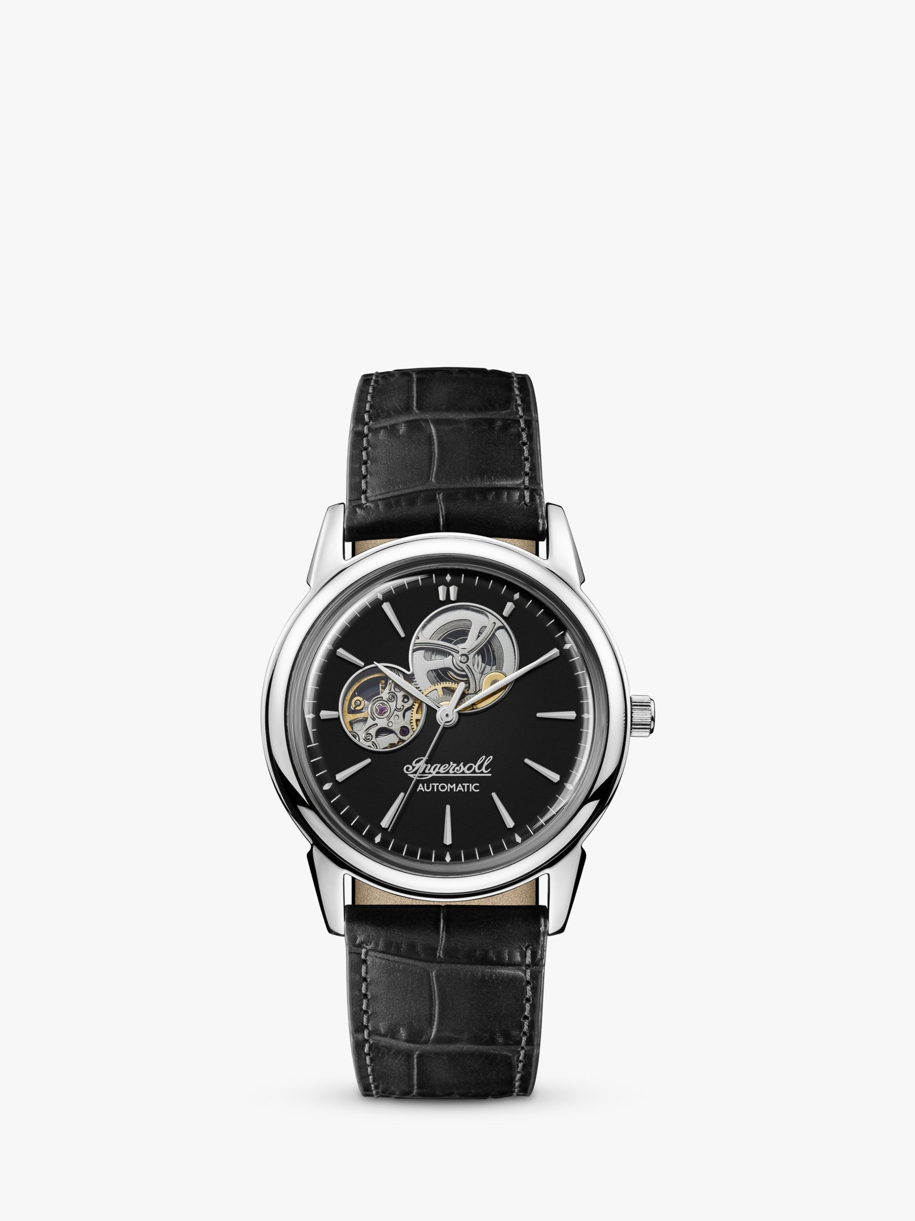 Ingersoll Ingersoll I07302 Men's The New Haven Automatic Heartbeat Leather Strap Watch, Black