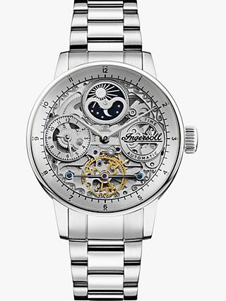 Ingersoll I07703 Men's The Jazz Skeleton Automatic Chronograph Bracelet Strap Watch, Silver