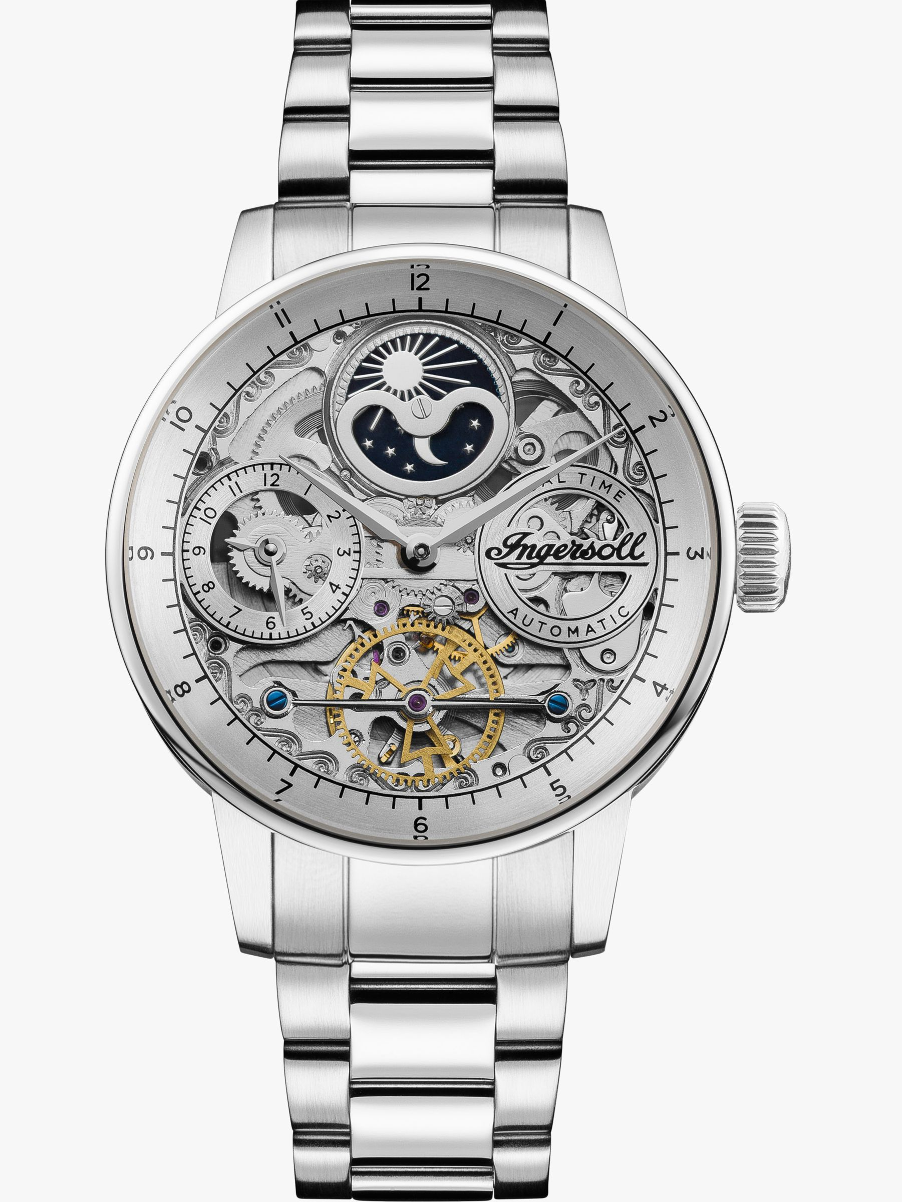 Ingersoll Ingersoll I07703 Men's The Jazz Skeleton Automatic Chronograph Bracelet Strap Watch, Silver