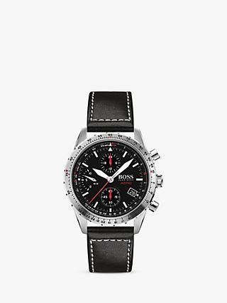 HUGO BOSS 1513770 Men's Aeroliner Chronograph Date Leather Strap Watch, Black