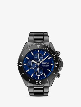 HUGO BOSS 1513743 Men's Ocean Edition Chronograph Ceramic Bracelet Strap Watch, Black/Blue