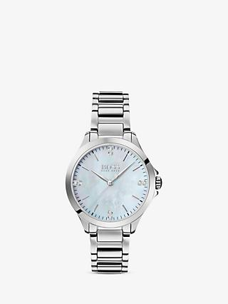 HUGO BOSS 1502522 Women's Diamond Bracelet Strap Watch, Silver/Mother of Pearl