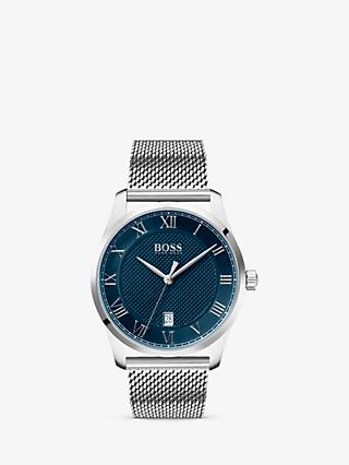 HUGO BOSS 1513737 Men's Master Date Mesh Bracelet Strap Watch, Silver/Blue