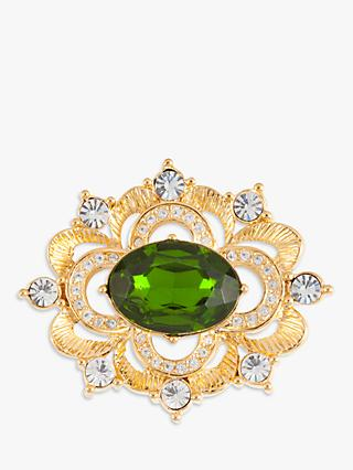 Susan Caplan Vintage Napier Gold Plated Swarovski Crystal Scalloped Brooch, Gold/Green