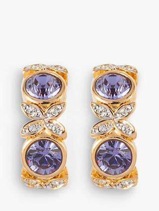 Susan Caplan Vintage D'Orlan 22ct Gold Plated Swarovski Crystal Clip-On Earrings, Gold/Purple