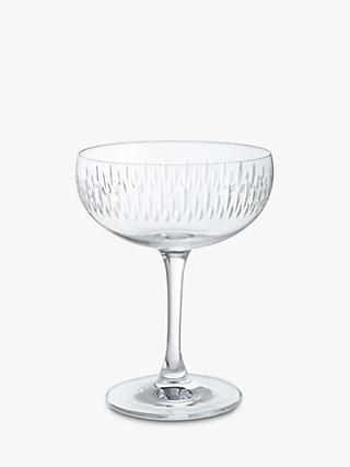 Dartington Crystal Limelight Cut Glass Champagne Saucers, Set of 2, 280ml, Clear