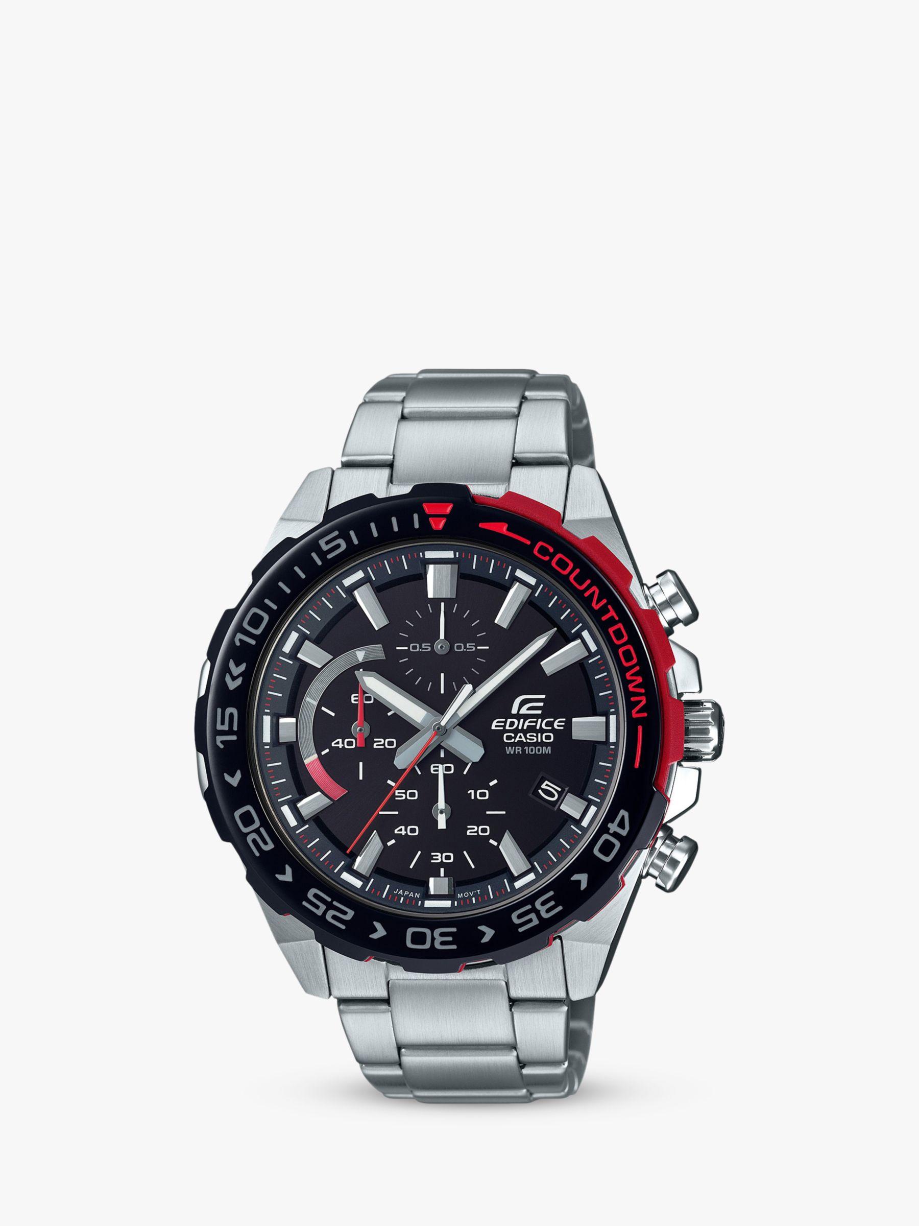 Casio Casio EFR-566DB-1AVUEF Men's Edifice Countdown Chronograph Solar Bracelet Strap Watch, Silver/Black