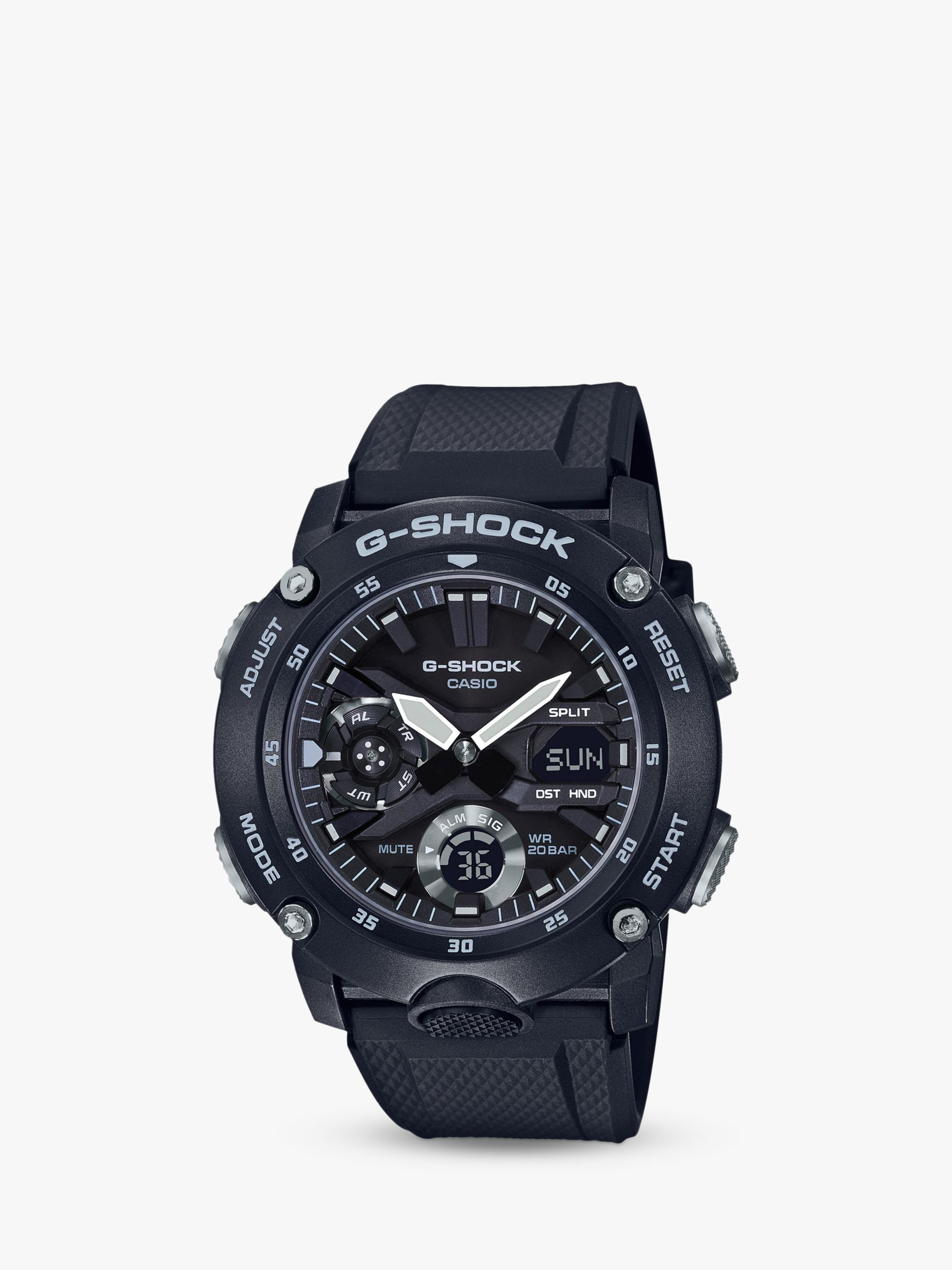 Casio Casio GA-2000S-1AER Men's G-Shock Chronograph Day Resin Strap Watch, Black