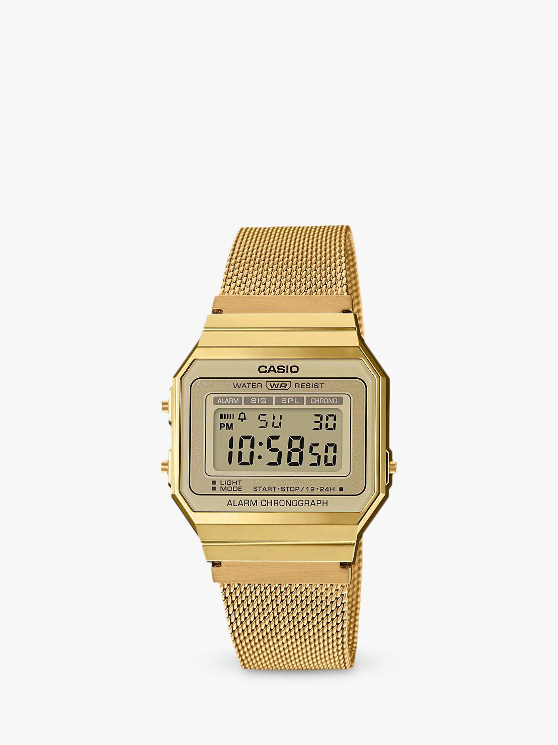 Casio Casio A700WEMG-9AEF Unisex Mesh Bracelet Strap Watch, Gold/Grey