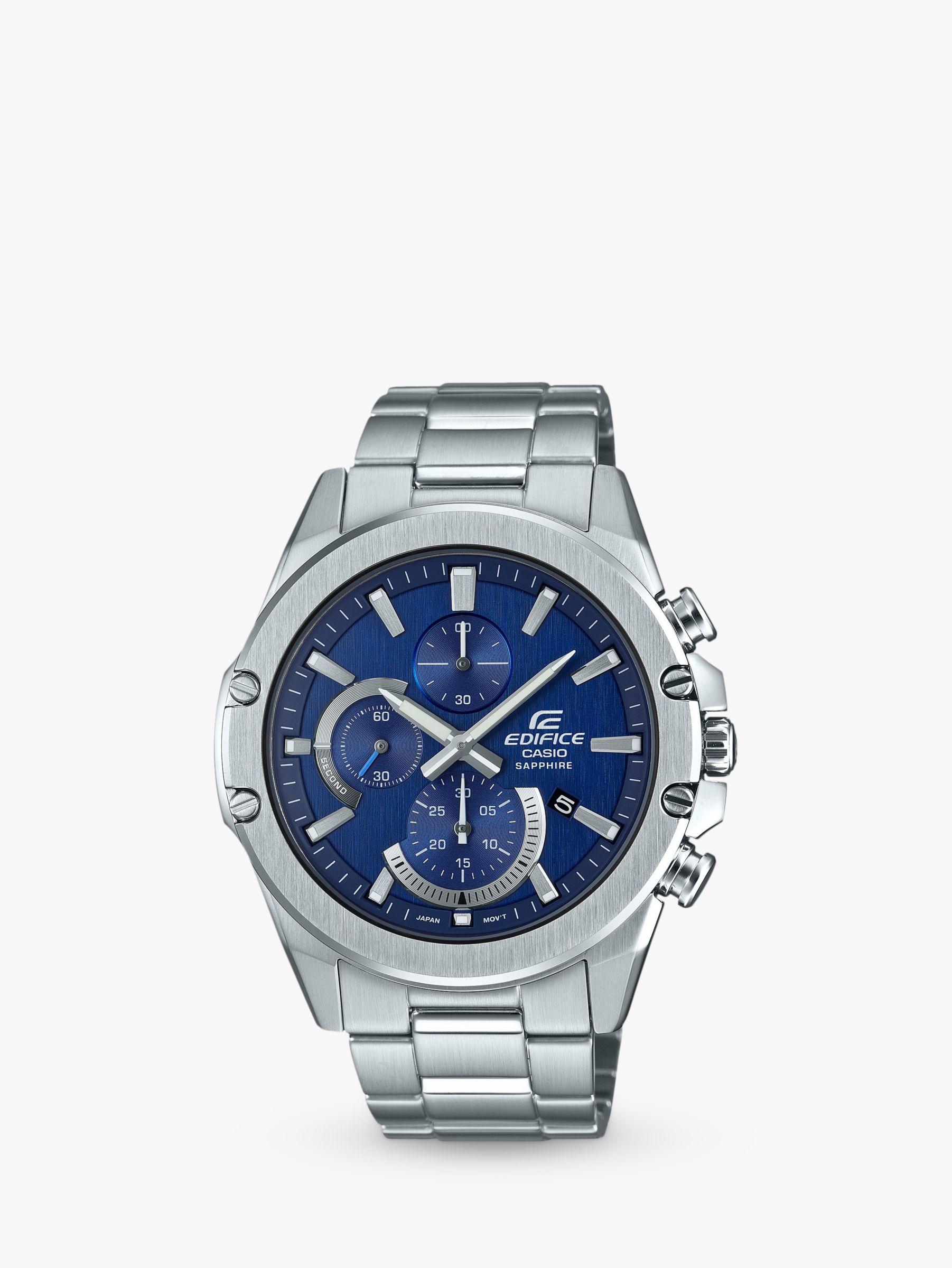 Casio Casio EFR-S567D-2AVUEF Men's Edifice Slim Chronograph Date Bracelet Strap Watch, Silver/Blue