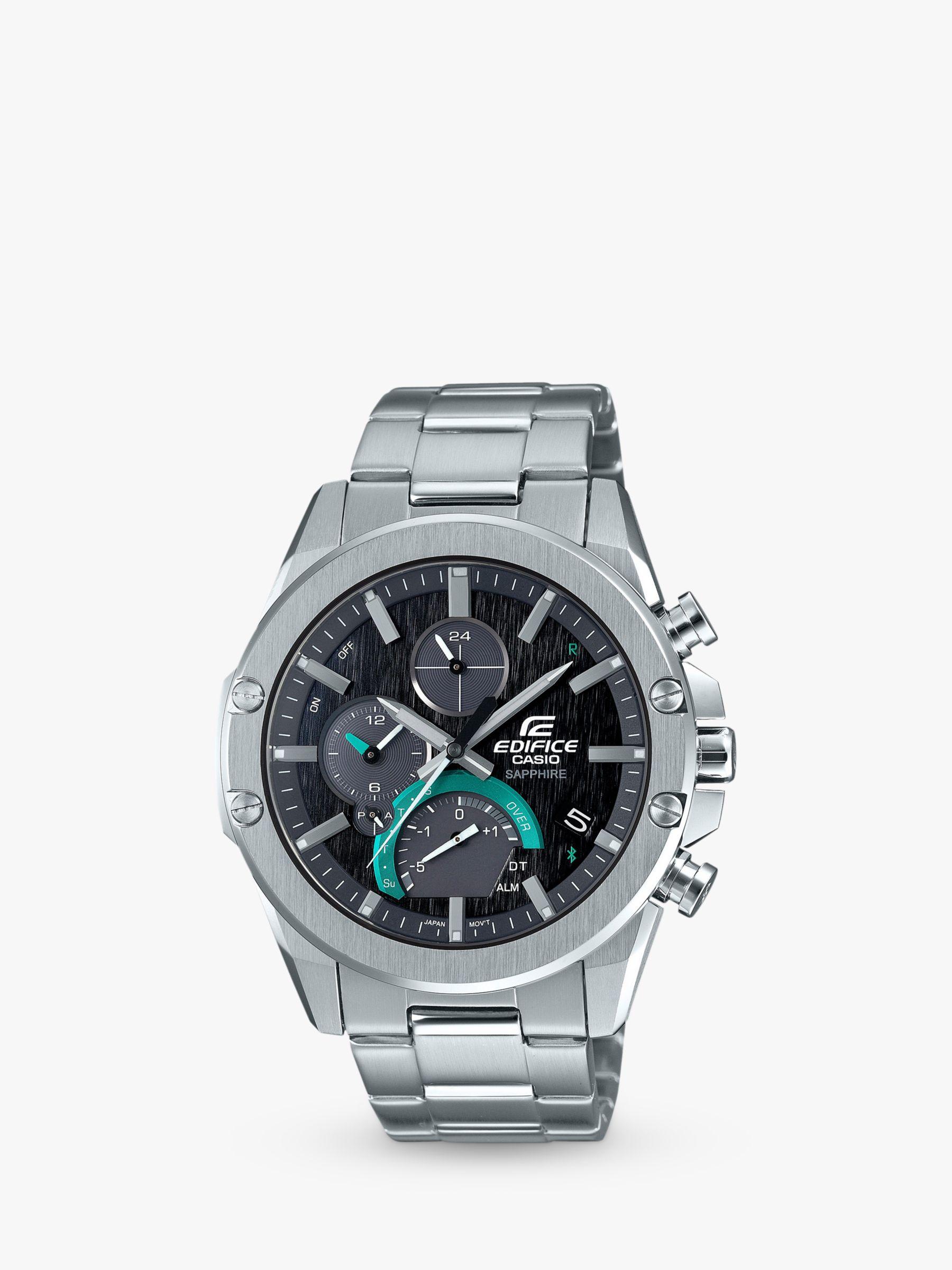 Casio Casio EQB-1000D-1AER Men's Edifice Chronograph Date Bracelet Strap Watch, Silver/Black