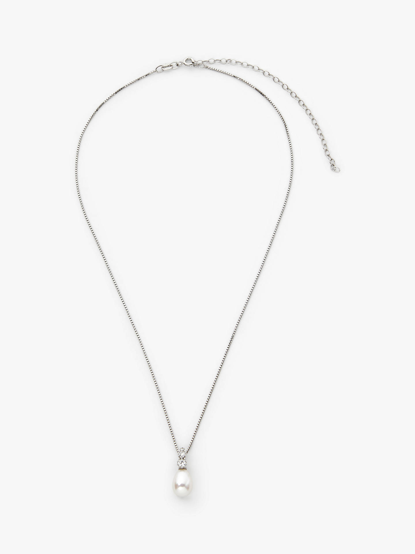 Buy Lido Cubic Zirconia and Small Freshwater Pearl Pendant Necklace, Silver Online at johnlewis.com