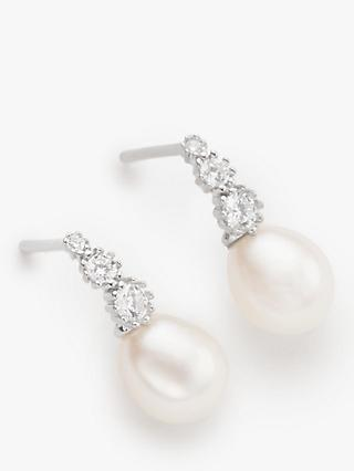 Lido Freshwater Pearl and Cubic Zirconia Drop Earrings, Silver