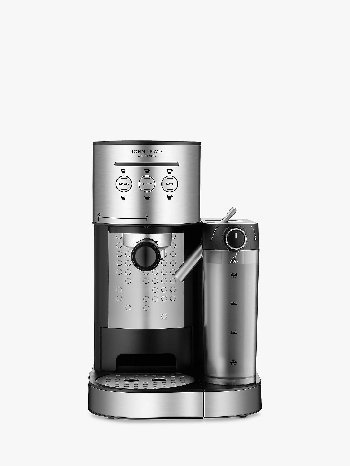 John Lewis Partners Pump Espresso Coffee Machine With Milk Frother Stainless Steel
