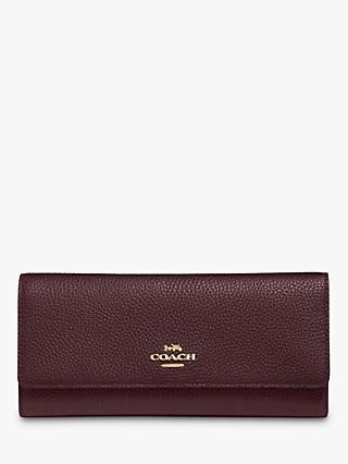 Coach Tri-fold Leather Wallet, Oxblood