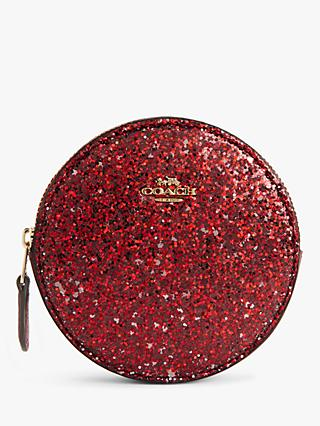 Coach Glitter Leather Round Coin Purse