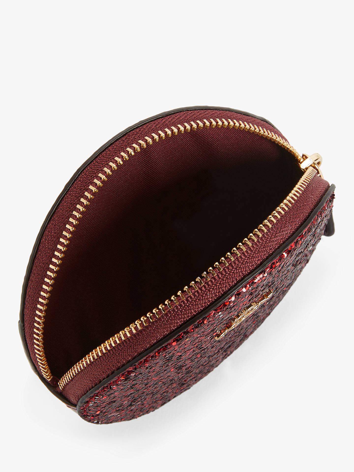 Buy Coach Glitter Leather Round Coin Purse, Red Online at johnlewis.com