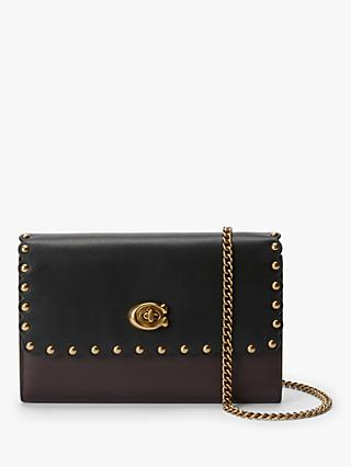 Coach Marlow Rivets Leather Chain Cross Body Bag, Black/Brown