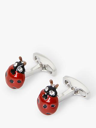 Simon Carter Ladybird Cufflinks, Silver/Red