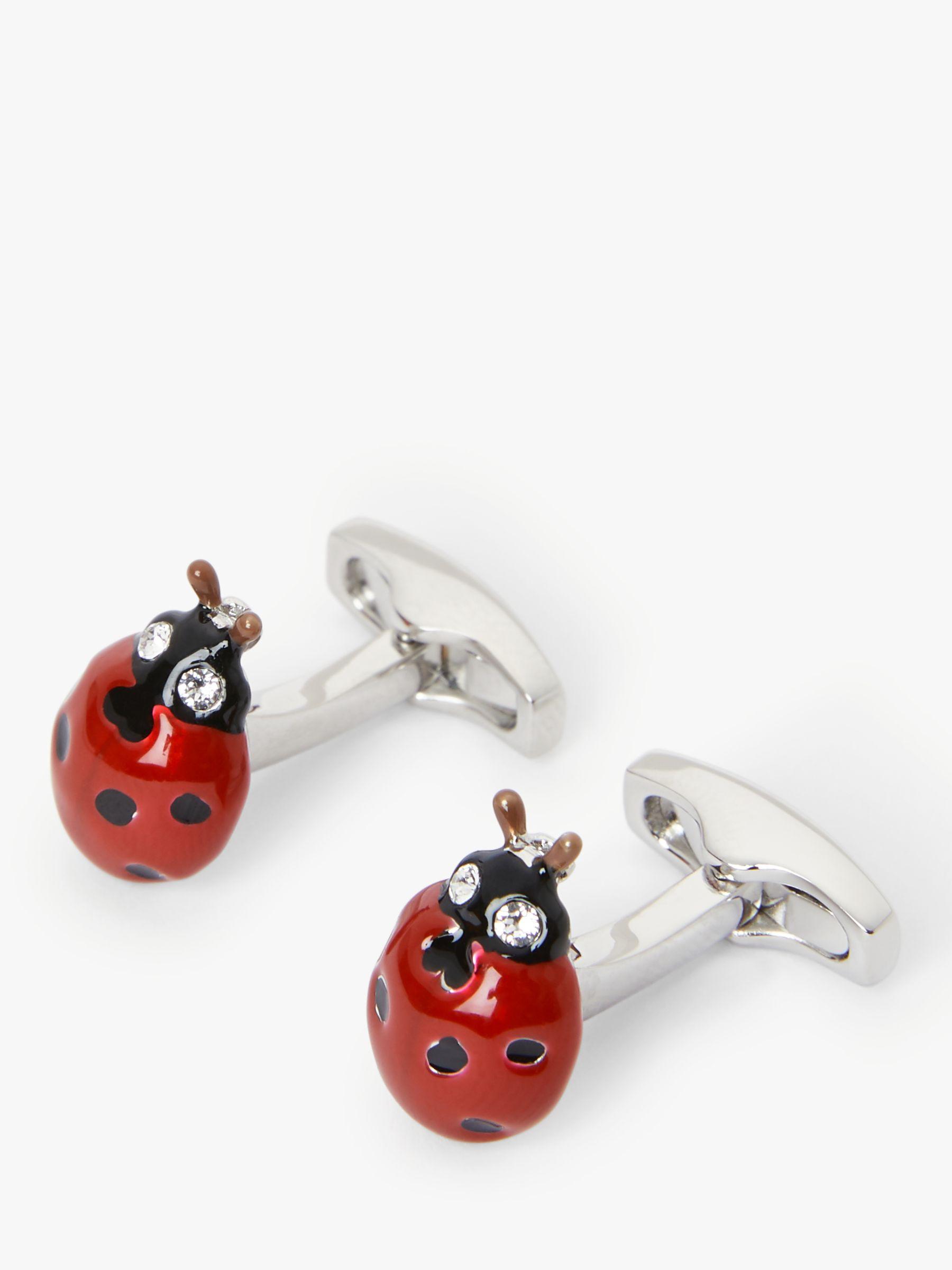 Simon Carter Simon Carter Ladybird Cufflinks, Silver/Red