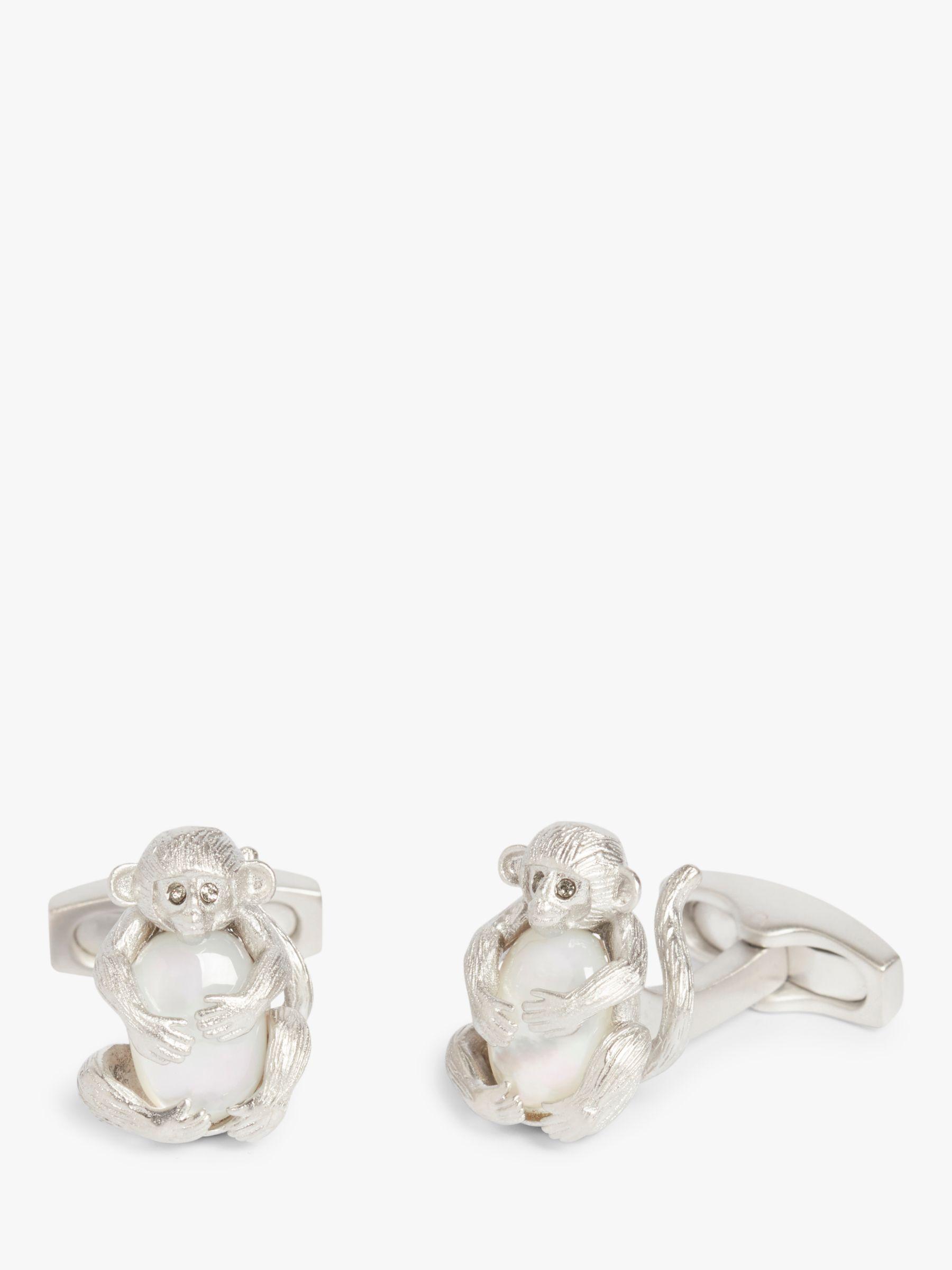 Simon Carter Simon Carter Monkey Mother of Pearl Egg Cufflinks, Silver