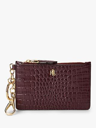 Lauren Ralph Lauren Elmswood Croc Effect Leather Coin Card Purse, Bordeaux