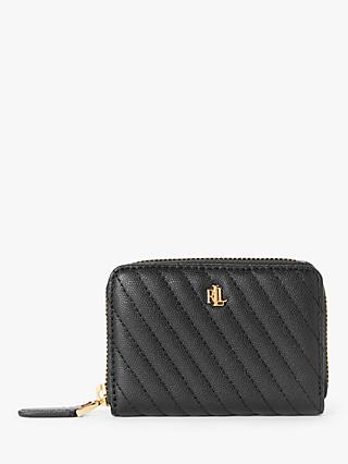 Lauren Ralph Lauren Elmswood Leather Zip Around Quilted Purse