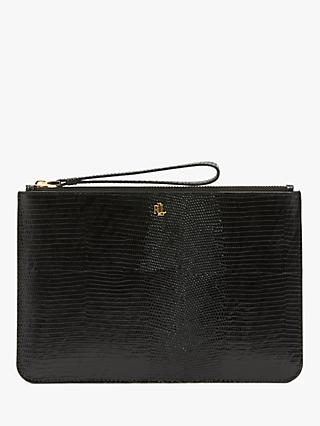 Lauren Ralph Lauren Elmswood Leather Pouch Purse, Black