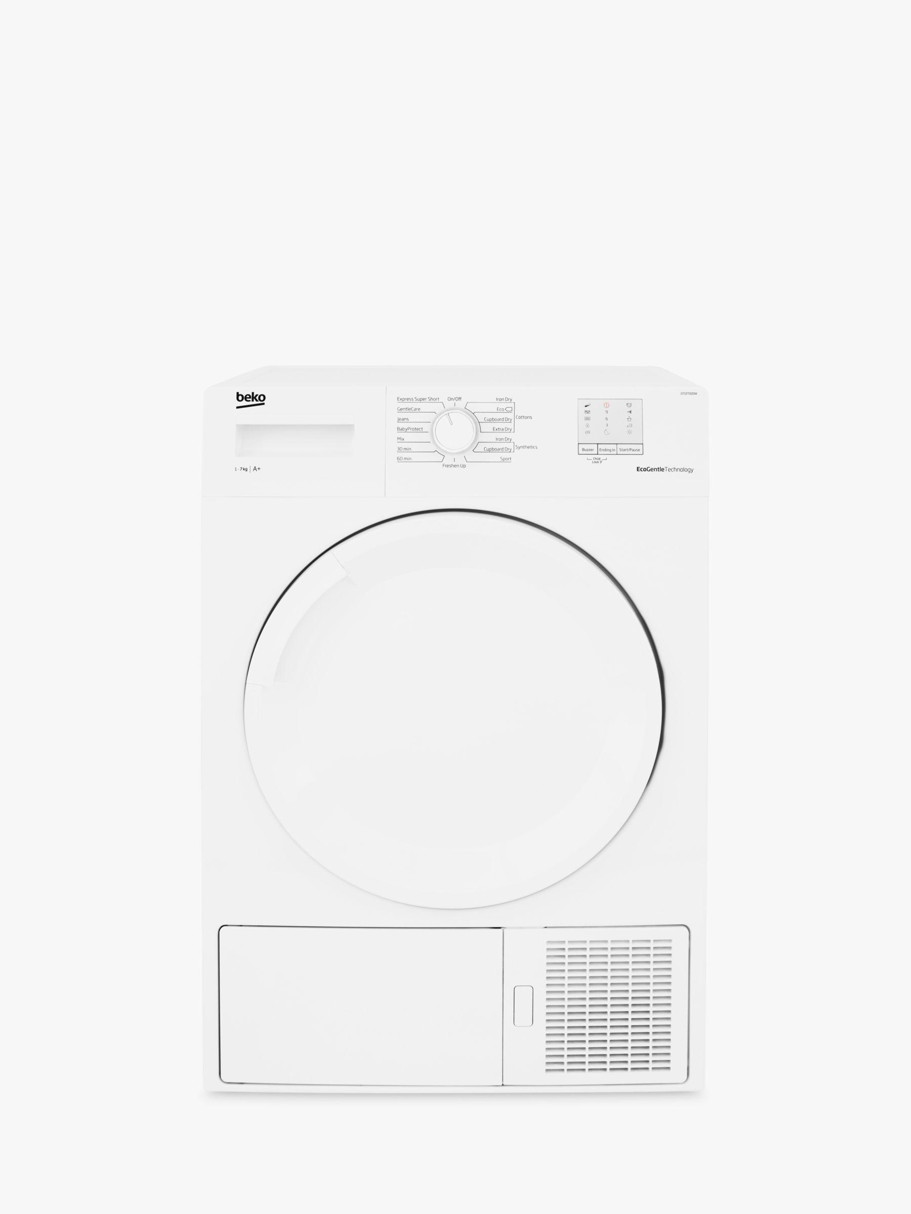 Beko Beko DTGP7000W Freestanding Slim Depth Heat Pump Tumber Dryer, 7kg Load, A+ Energy Rating, White