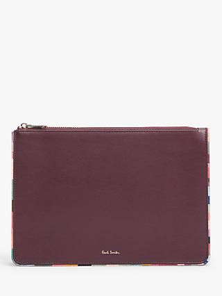 Paul Smith Leather Swirl Trim Pouch Purse, Burgundy