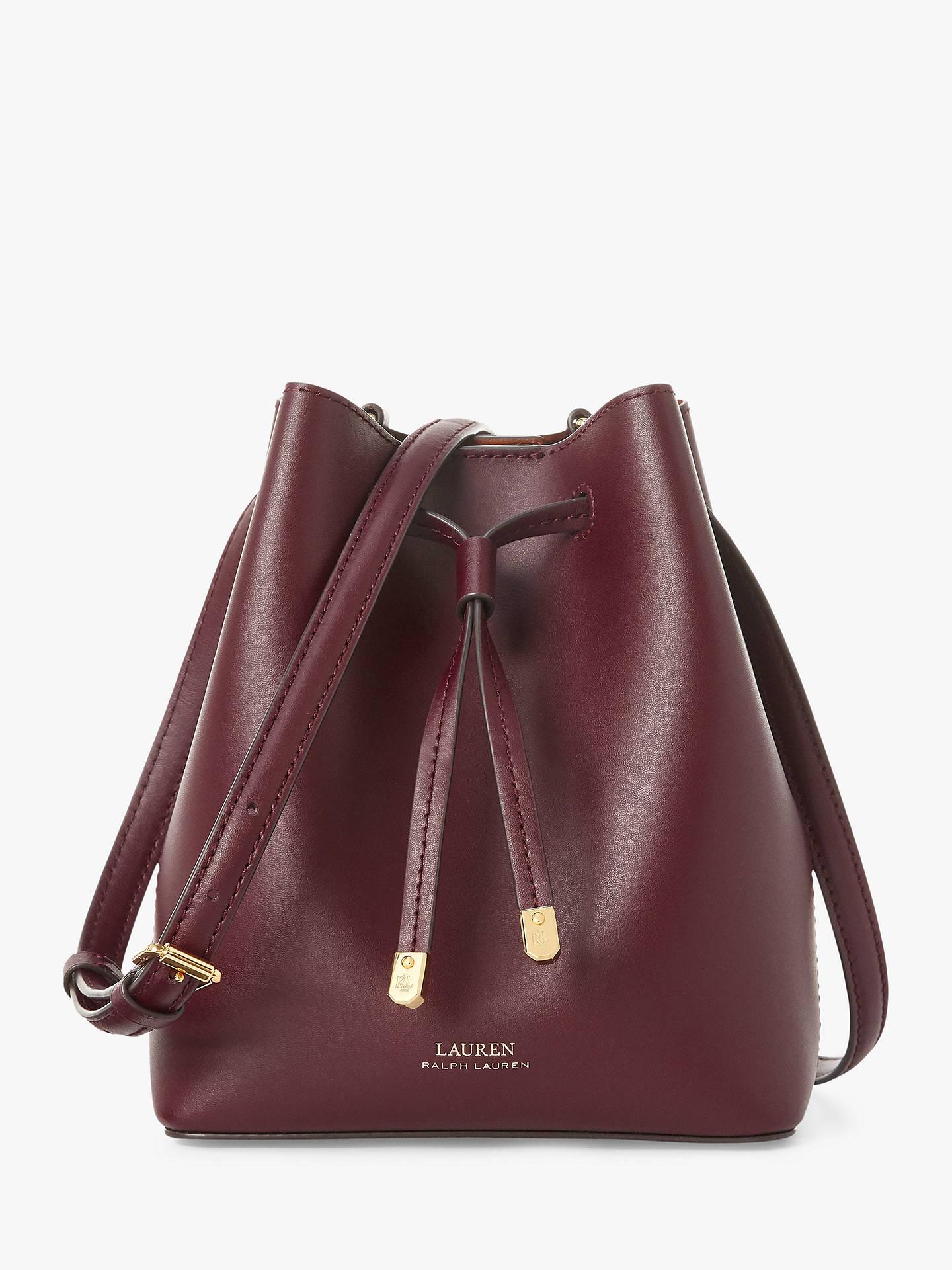 Lauren Ralph Dryden Debby Leather Bucket Bag Bordeaux Field Brown