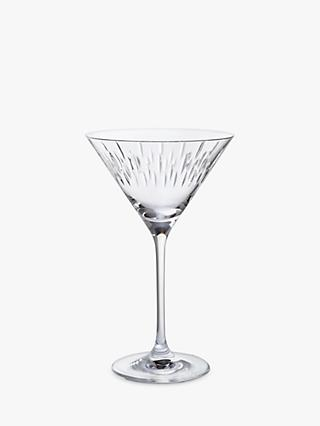 Dartington Crystal Limelight Cut Glass Martini Glasses, Set of 2, 210ml, Clear