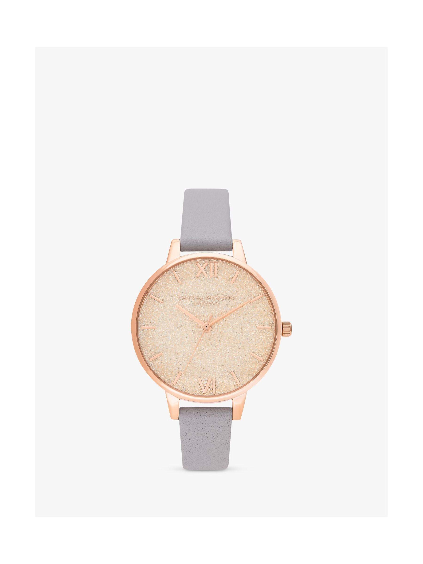 Olivia Burton Olivia Burton OB16GD45 Glitter Dial Faux Leather Strap Watch, Grey Lilac/Rose Gold